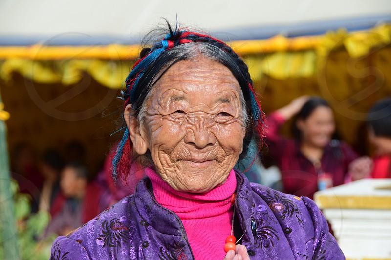 Bhutan happiness old lady character travel Asia Himalayas  photo