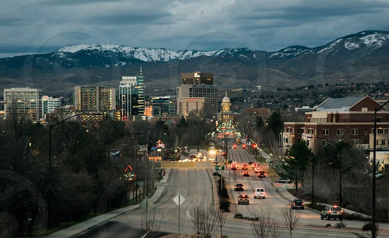 Boise traffic streets city lights photo