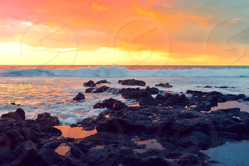 hawaii sunset rocks color ocean pacific beauty photo