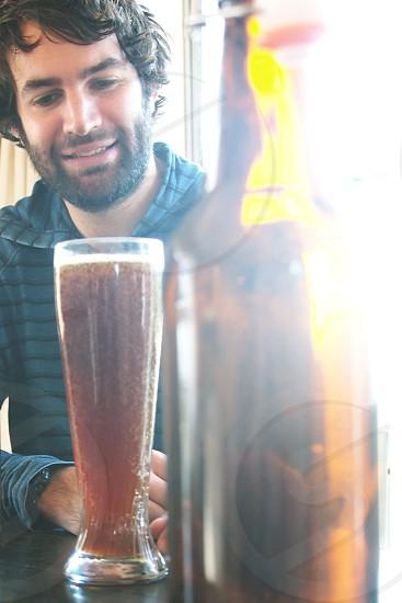 portrait beer bottle close-up photo
