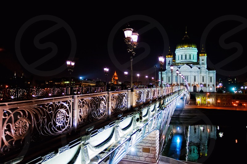 Christ Savor Cathedral in Moscow at night photo