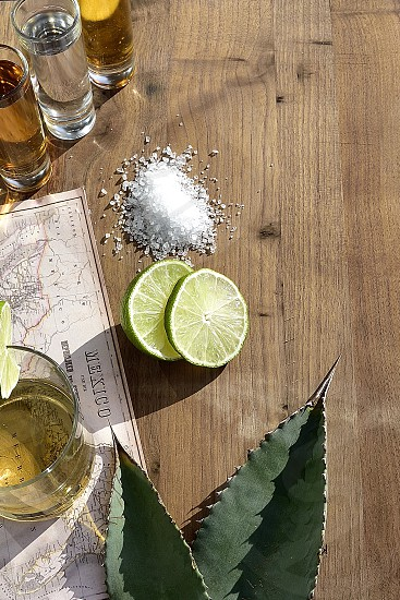 Tequila shooters variety salt lime Mexico map copy space agave leaves outdoor lighting. photo