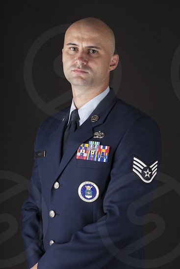 Air Force NCO portrait in blues photo
