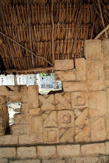 Chichen Itza hieroglyphics Mayan sculptures in Mexico Pyramids photo