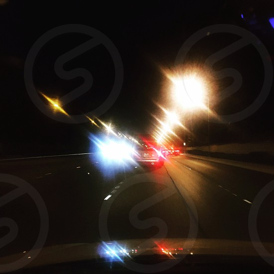 Las Vegas NV. Cars lights motion blur fast speed moving travel go. photo