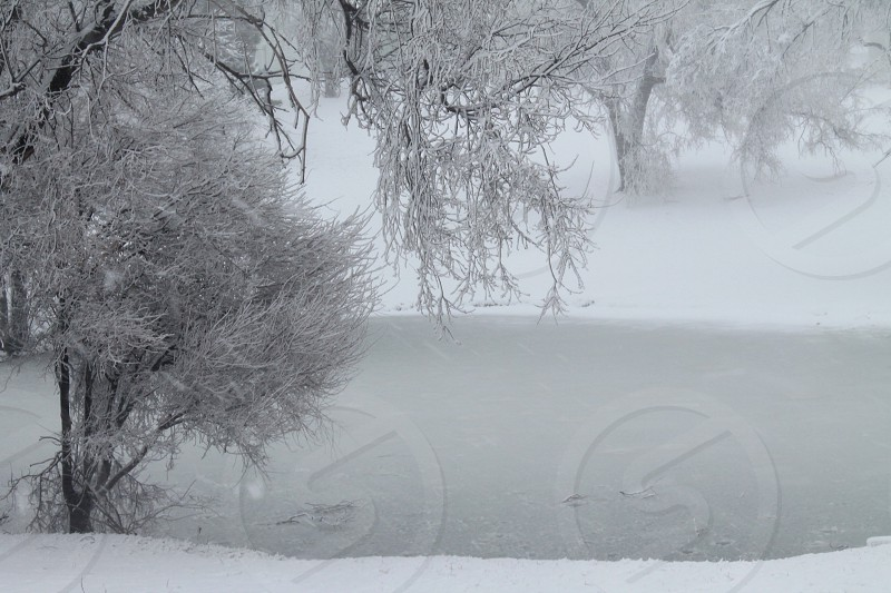 Snowing with ice on the pond photo