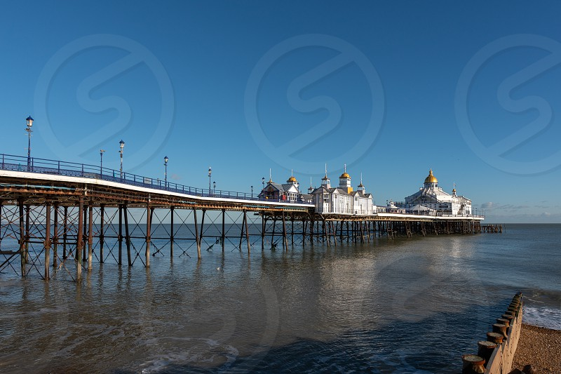 EASTBOURNE EAST SUSSEX/UK - JANUARY 28 : View of Eastbourne Pier in East Sussex on January 28 2019 photo