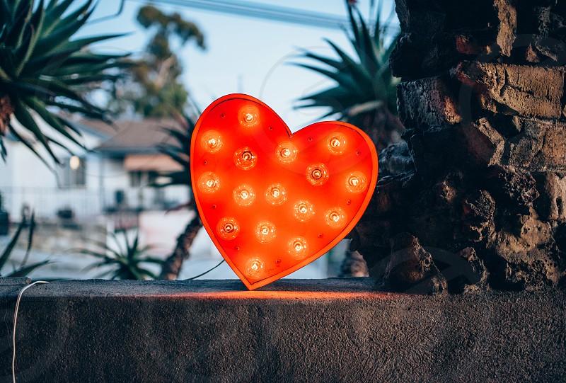 red heart light art valentine's day photo