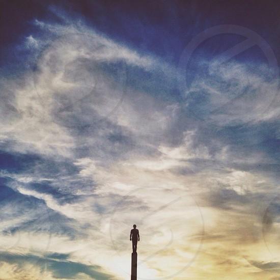 white clouds blue sky photo