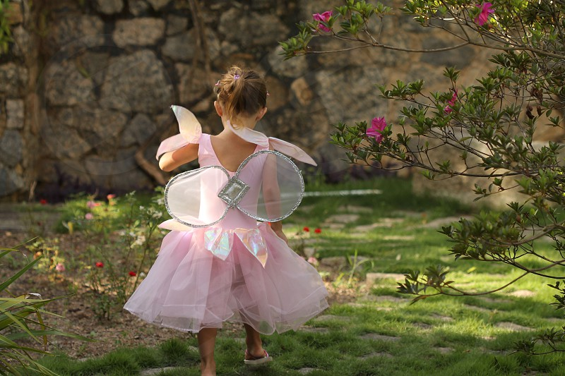 girl wearing a pink fairy costume photo