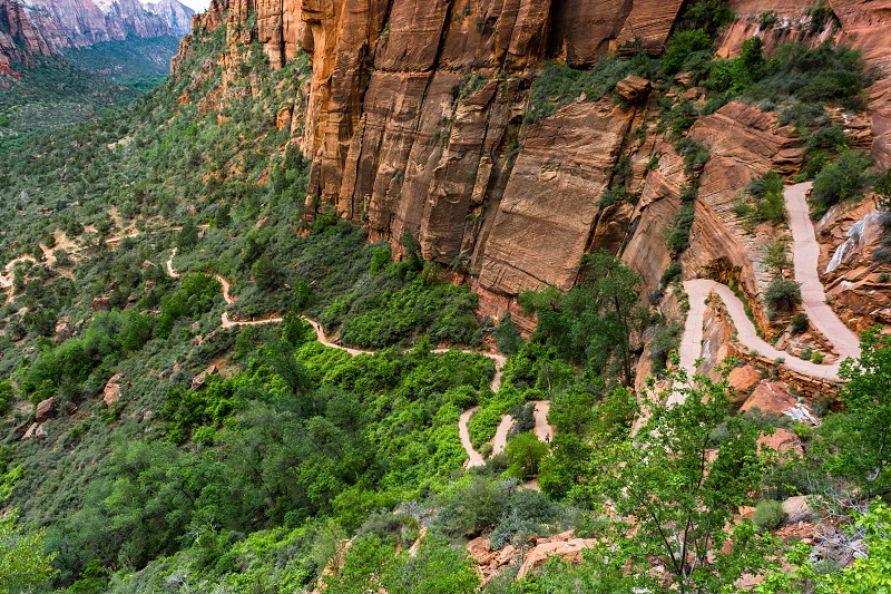 Zion national park nature view panorama rocks cliffs color landscapes mountain desertfoliage brush valley canyon  photo