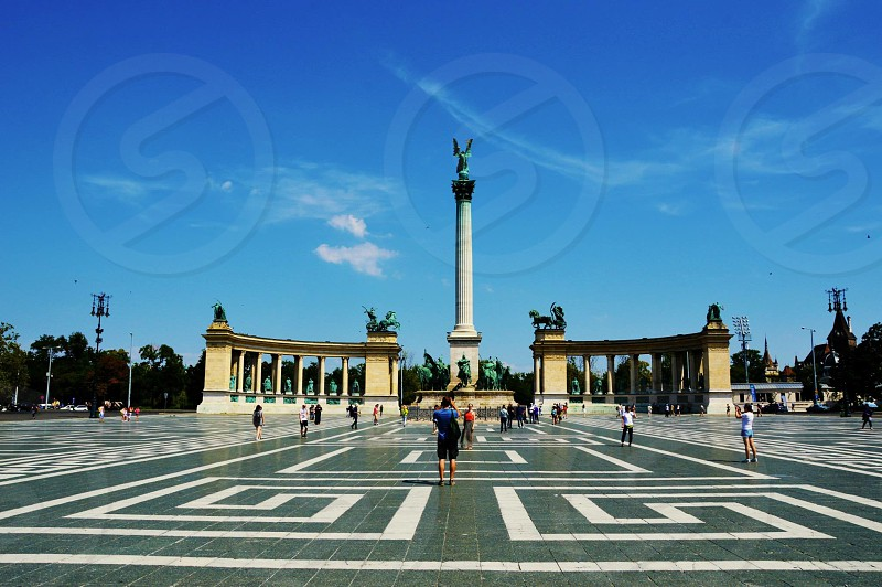 Summer day in Hosoktere (heroes square) in Budapest. photo