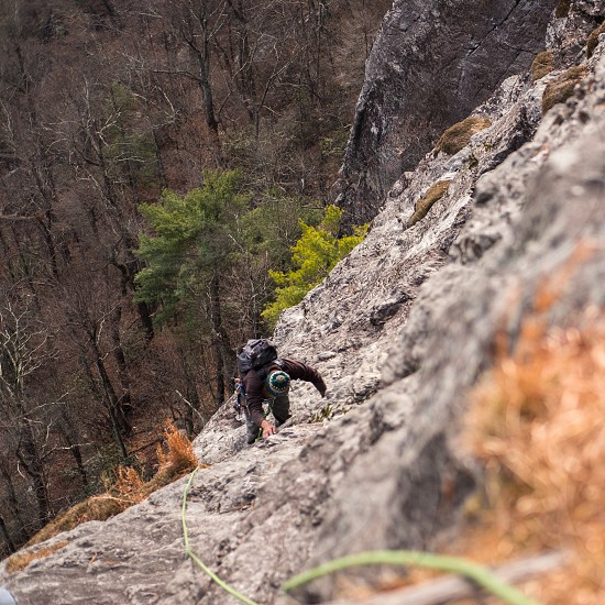 Rock climbing mountain view cliff mountaineer rough adventure extreme epic wanderlust North Carolina table rock Jim dandy trad traditional rugged strong  character  photo