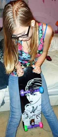 Blonde skater girl  photo