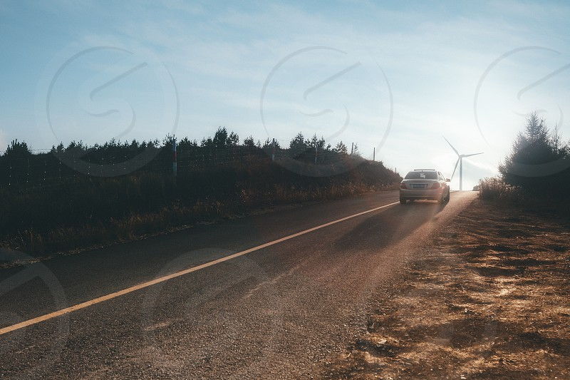 Road travel trip people car journeys storm high way  sunset  photo