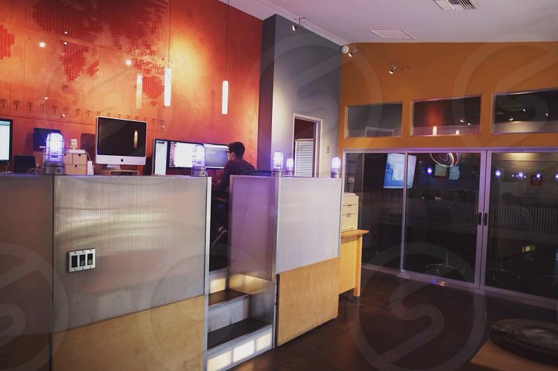 glass window with grey frame photo