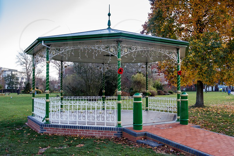 CRAWLEY WEST SUSSEX/UK - NOVEMBER 21 : View of the Bandstand in Crawley West Sussex on November 21 2018. One unidentified person photo