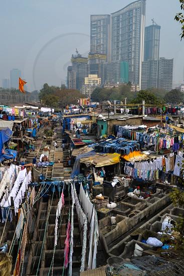 Dhobi Ghat in Bombay India photo