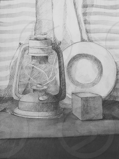 still life. #drawing#natiurmort#lamp#art#artschool#picture#pencil#white#black#cube#plate#drapery photo
