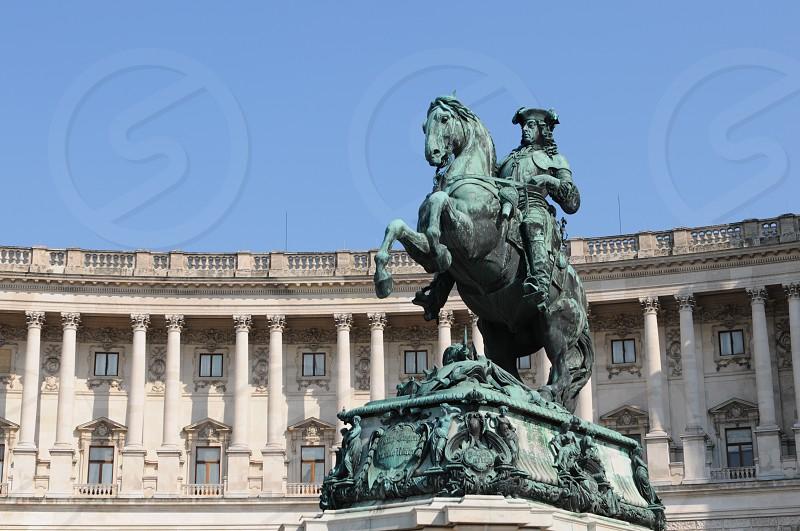 Heldenplatz in vienna with rider figure. photo