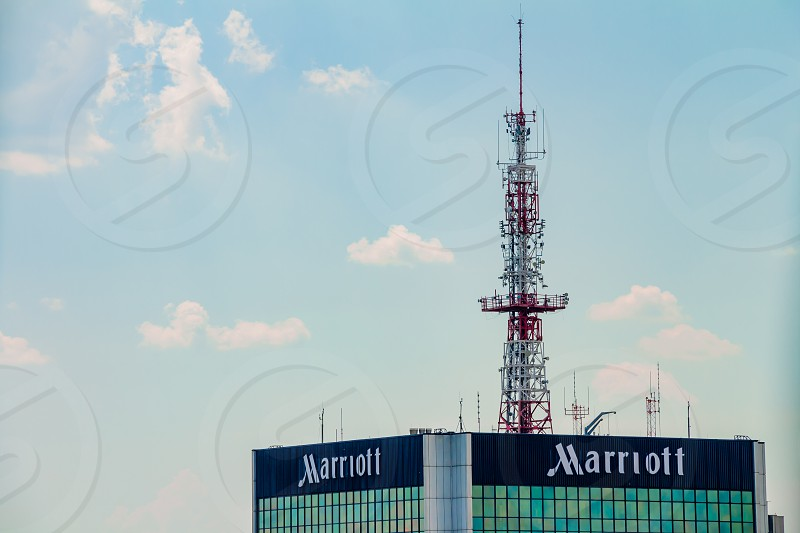 Warsaw Poland - May 31 2018: High office building of the Marriott hotel company in the city center. photo