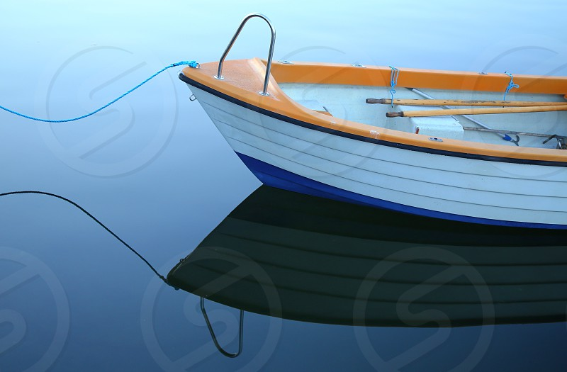Calm sea open blue evening boat ship front nature water reflection reflections  spring summer autumn season reflex  photo