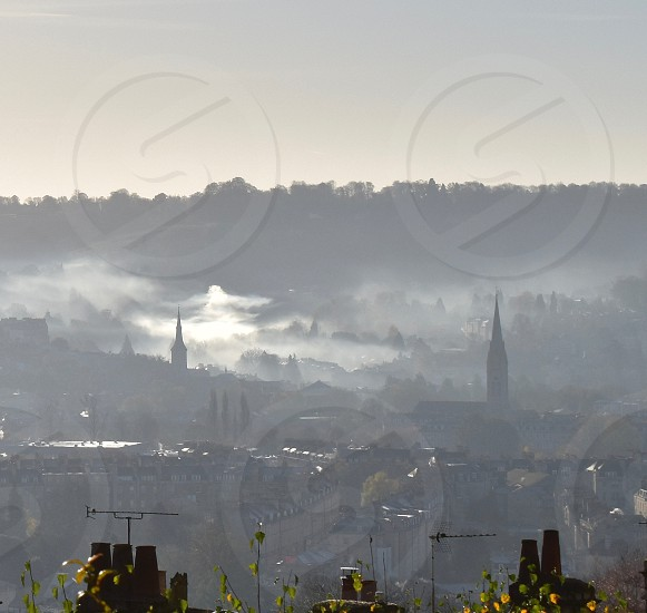 Early morning view of cityscape. photo