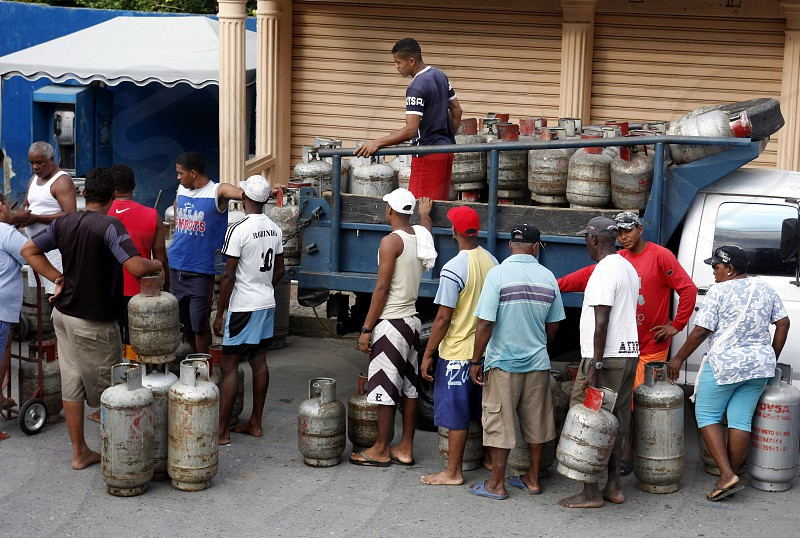people buy Gas at the market the village of choroni on the caribbean coast in Venezuela. photo
