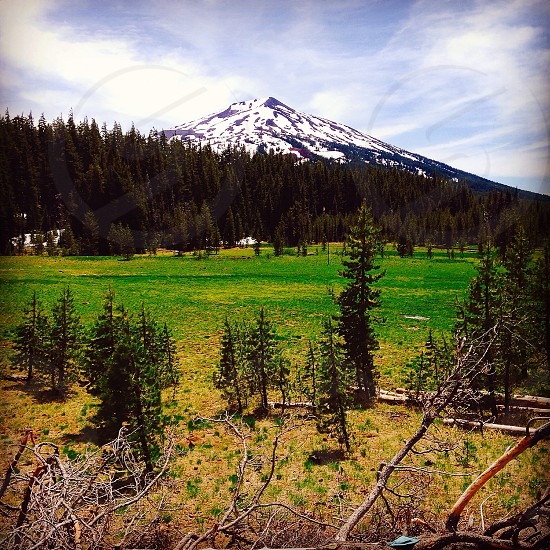 High mountain with snow cap photo