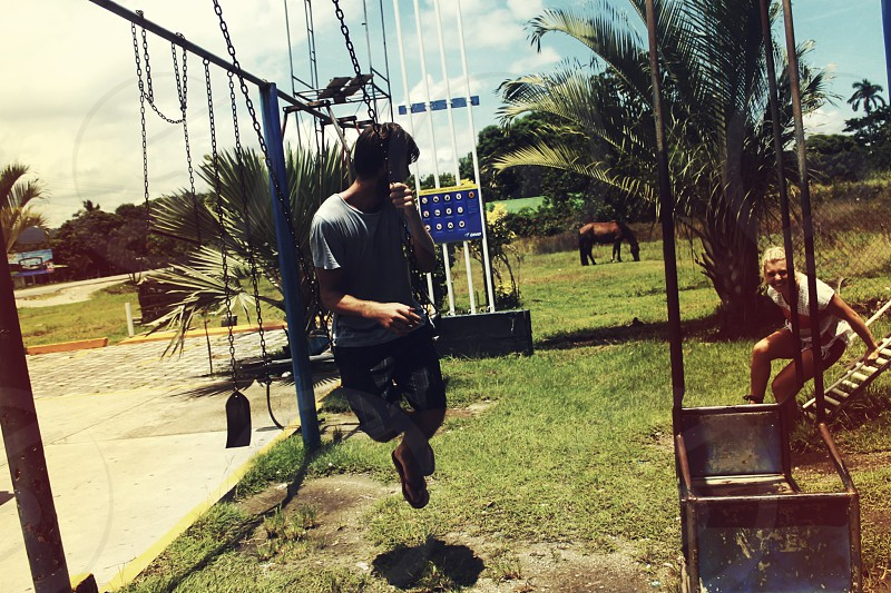 Swings fun playground photo