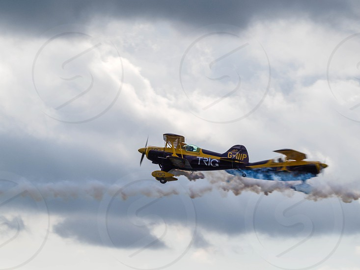 The Trig Aerobatic Team flying over Biggin Hill airport photo
