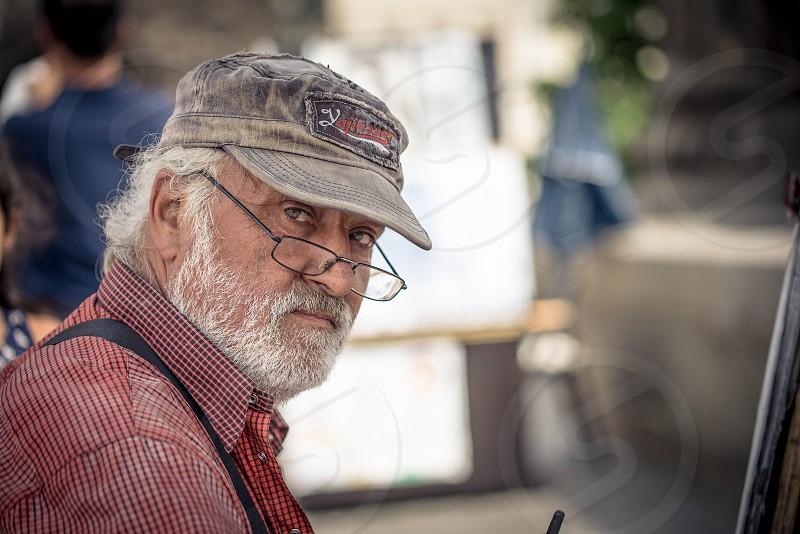 Artist Painter Prague Czech Republic Charles Bridge Old Man Elderly photo