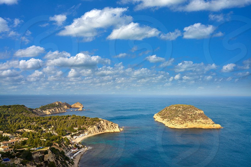 Javea Xabia Mediterranean sea aerial from La Falzia point in Alicante Spain photo