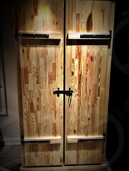 brown wooden door closed photo