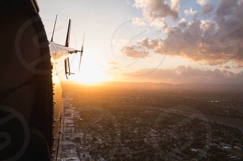 Sunset helicopter flight over Hollywood photo