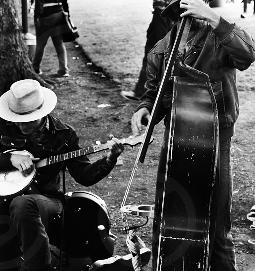 Street musicians on the sidewalk. photo
