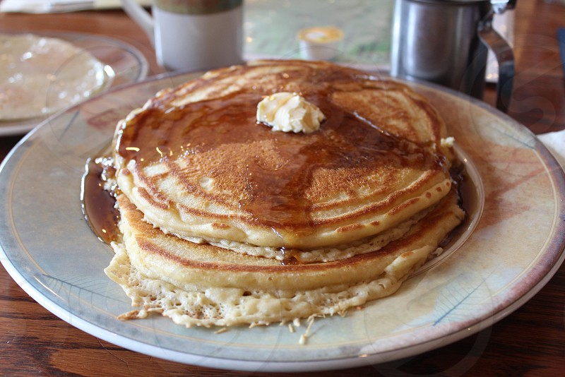 Pancake stack with butter and syrup drizzle (example from Harbor Restaurant Mt. Ida AR) Arkansas Food photo