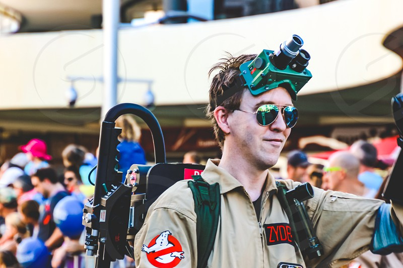 Ghostbusters cosplay young man in costume fictional character street parade  photo