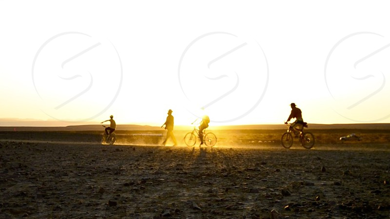 Cyclists silhouetted by the setting sun photo