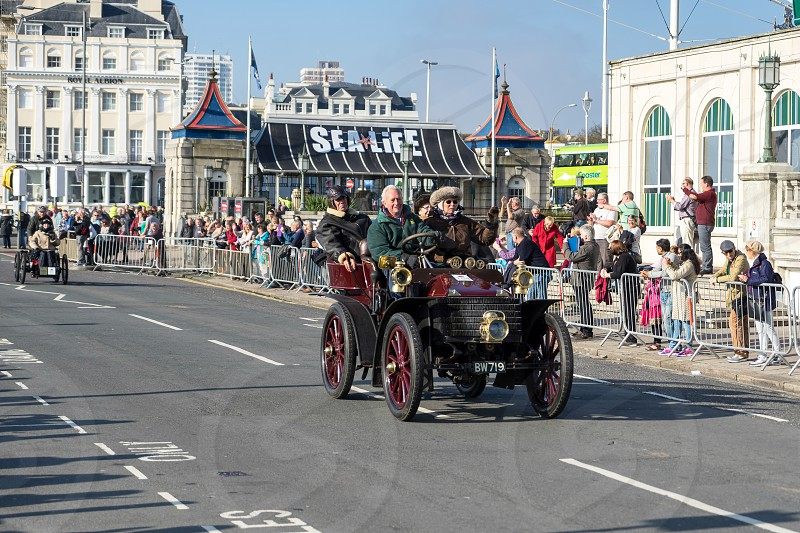 Cars approaching the Finish Line of the London to Brighton Veteran Car Run photo