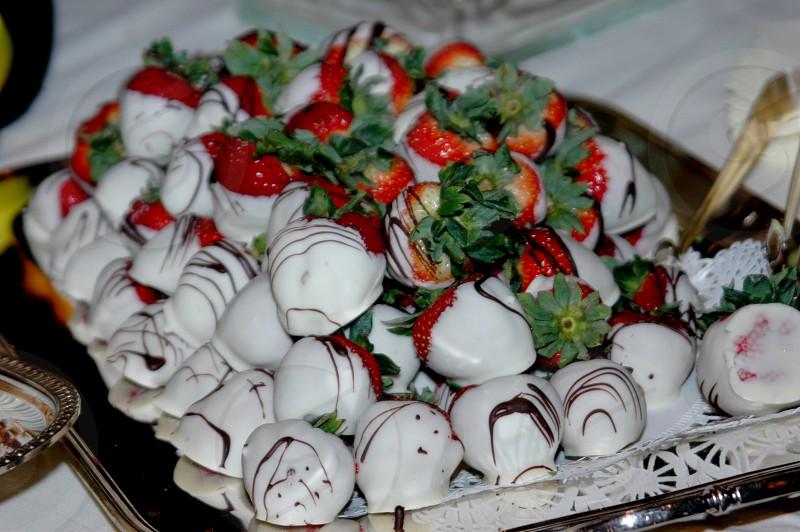 White chocolate covered strawberries photo