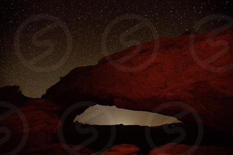 Mesa Arch Utah at night photo