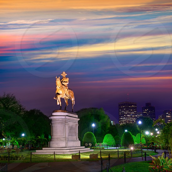 Boston Common George Washington monument sunset at Massachusetts USA photo