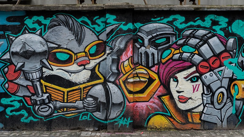 Street art graffity in the streets of Shanghai photo