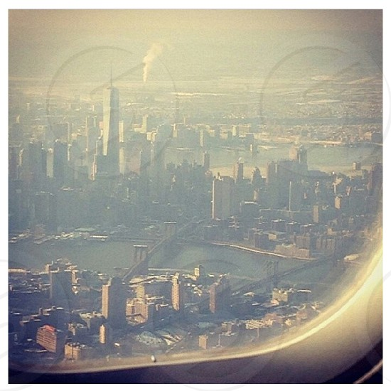 NYC Skyline view from the plane  photo