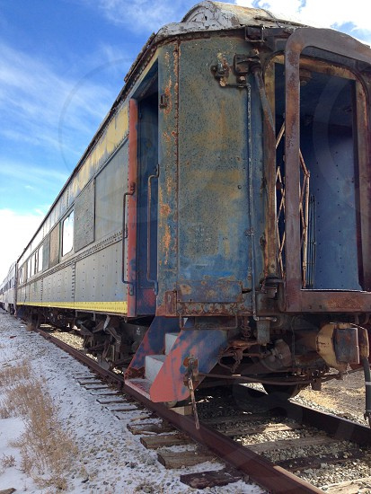 Old train car train train track no longer used train photo