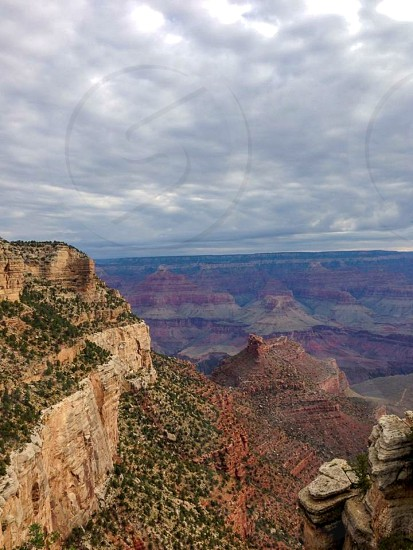 Outdoor day vertical portrait colour color Grand Canyon National Park landmark bucket list Arizona AZ rocks nature sky travel tourist tourism wanderlust photo