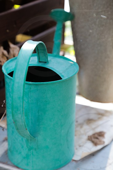 Garden water feed grow growth greenhouse greens life watercan watering wateringcan teal color turquoise  photo