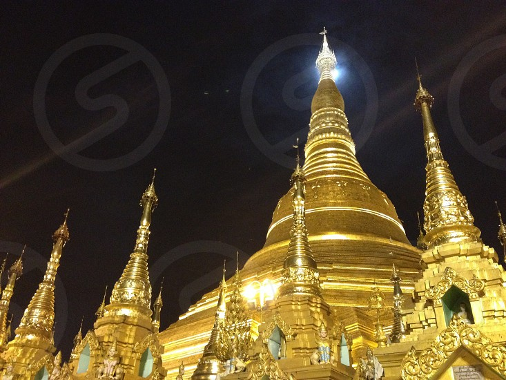 Super moon in shuedagong payah in Myanmar photo