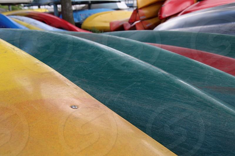 Watercraft waiting on shore photo